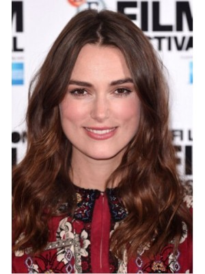 Keira Knightley Long Lace Front Auburn Wavy Remy Human Hair Wig