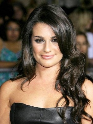 Lea Michele Black Lace Front Long Wavy Human Wigs