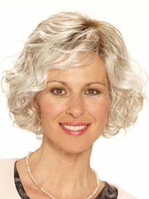 Capless Grey Short Wavy Synthetic Hair Wig