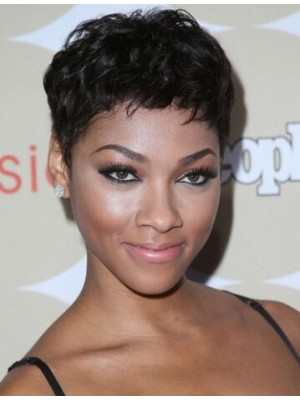 Sassy Angel Short Wavy Capless Human Hair Pixie Cut Wig