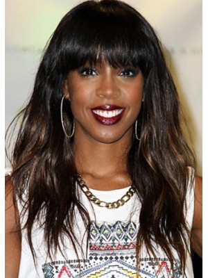 Capless Long Straight Brown Remy Human Hair Wig