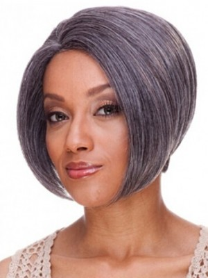 Lace Front Short Striaght Grey Synthetic Wig