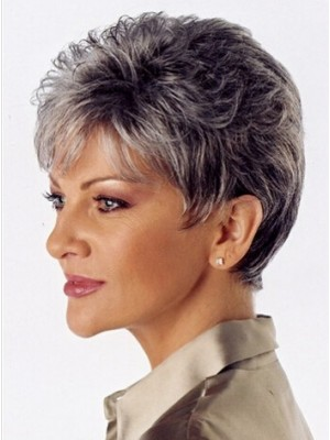 Capless Wavy Short Grey Synthetic Wig