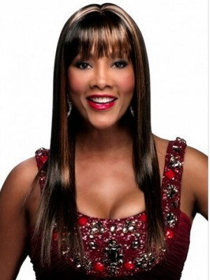 Capless Long Striaght Brown Synthetic Wig