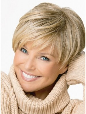 Capless Straight Short Remy Human Hair Wig