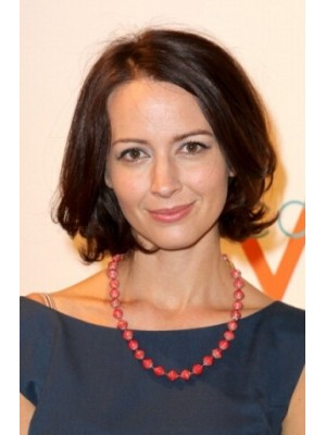 Amy Acker Lace Front Medium Remy Human Hair Wavy Wig