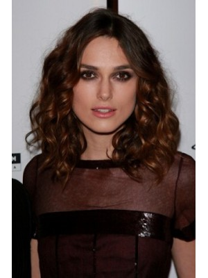Keira Knightley Medium Lace Front Brown Wavy Remy Human Hair Wig