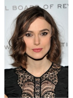 Keira Knightley Short Lace Front Brown Wavy Remy Human Hair Wig