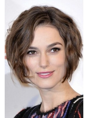 Keira Knightley Short Lace Front Wavy Remy Human Hair Wig