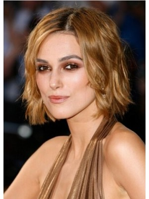 Keira Knightley Short Lace Front Blonde Wavy Remy Human Hair Wig