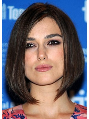 Keira Knightley Short Lace Front Black Straight Remy Human Hair