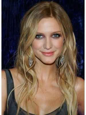 Ashlee Simpson Long Lace Front Blonde Curly Remy Human Hair Wig
