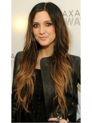 Ashlee Simpson Long Lace Front Brown Curly Remy Human Hair Wig