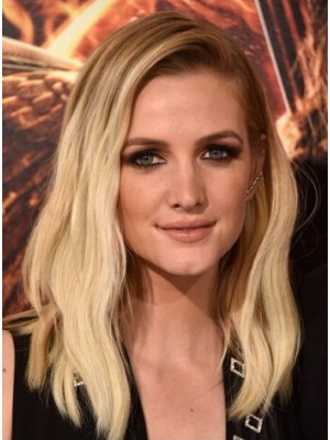 Ashlee Simpson Medium Lace Front Blonde Wavy Remy Human Hair Wig