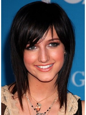 Ashlee Simpson Medium Capless Black Straight Synthetic Hair Wig