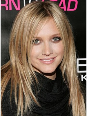 Ashlee Simpson Long Lace Front Blonde Straight Remy Human Hair Wig