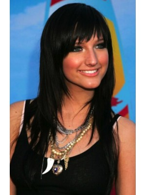 shlee Simpson Long Capless Black Straight Synthetic Hair Wig