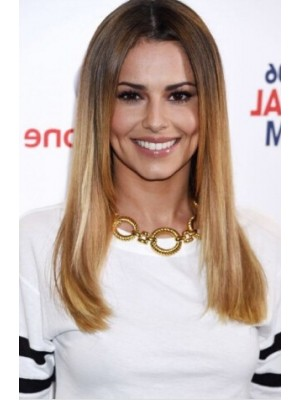 Cheryl Cole Long Lace Front Blonde Straight Remy Human Hair Wig