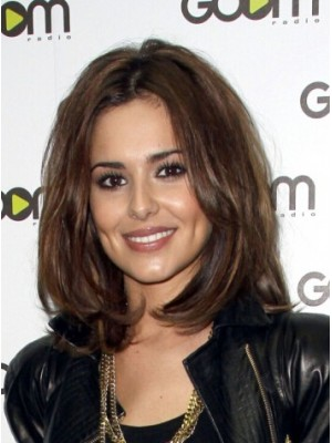 Cheryl Cole Medium Lace Front Brown Wavy Synthetic Hair Wig