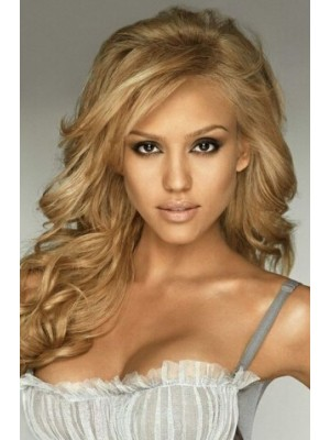 Jessica Alba Long Wavy Blonde Hair Wig