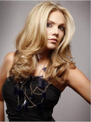 Long Blonde Casual Straight Style With Waves Wig