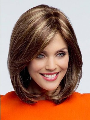 Comfortable Lace Front Brown Straight Human Hair Wig
