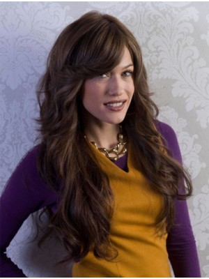 Full Lace Wavy Long With Bangs Human Hair Wigs