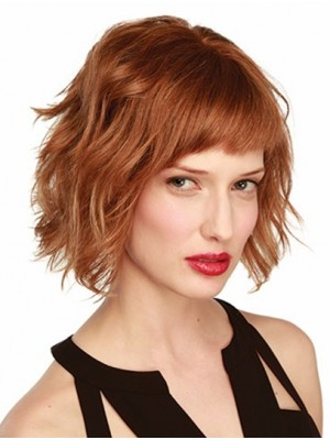 Auburn Wavy Chin Length Monofilament Good Remy Human Hair Wigs