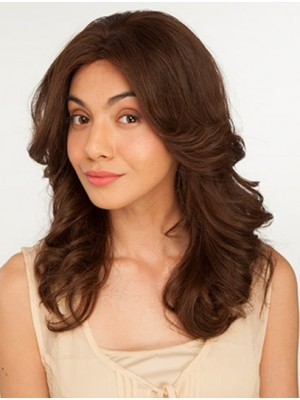 Brown Wavy Long Lace Front Fabulous Remy Human Hair Wigs
