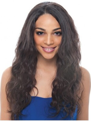 Wavy Black Without Bangs Lace Front Long High Quality Remy Human Hair Wig