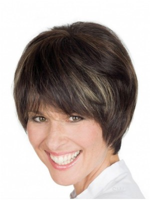 Brown Wigs short straight human hair wigs