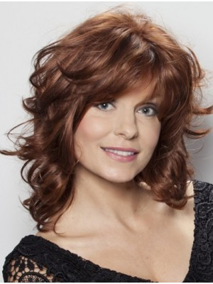 Medium Layered Wavy Mono Top Lace Front Wigs