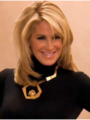 Blonde Mid-length Kim Zolciak Human Hair Wigs