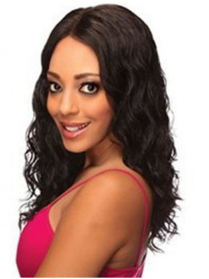 Wavy Black Without Bangs Lace Front Shoulder Length Best Remy Human Hair Wig