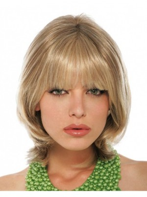 Cheap Blonde Human Hair Wigs With Full Bangs