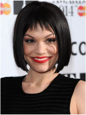 Jessie J Black Straight Bob Human Hair Wigs