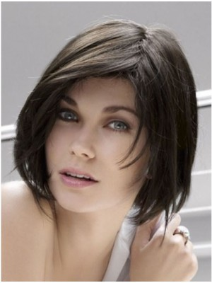 "10"" Straight Bob Style Monofilament Human Hair Wigs"