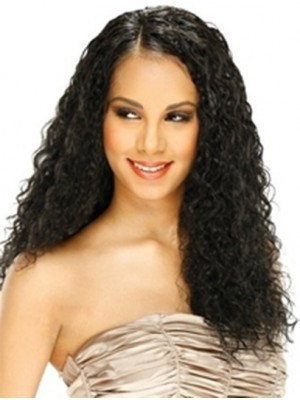 Curly Black Without Bangs Full Lace Long Comfortable Remy Human Hair Wig