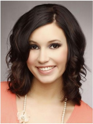 Medium Brown Wavy Lace Front Human Hair Wigs