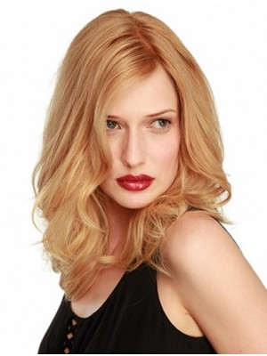 Blonde Wavy Shoulder Length Lace Front Fashion Remy Human Hair Wig