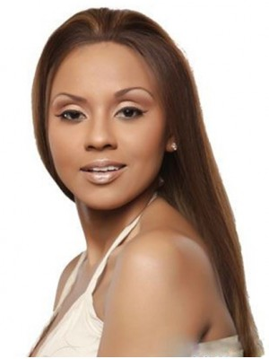 Straight Brown Without Bangs Lace Front Long Soft Remy Human Hair Wig