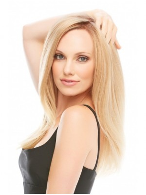 "18"" Blonde Straight Monofilament Human Hair Wigs"
