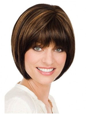 Bobs Brown Straight Monofilament Classy Remy Human Hair Medium Wig
