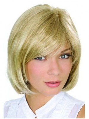 Bobs Blonde Wavy Monofilament Best Remy Human Hair Medium Wigs