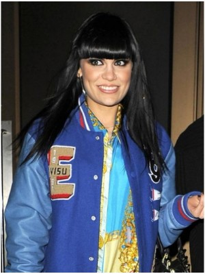 Jessie J Black Long Straight Human Hair Wigs