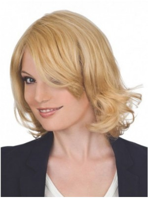 Sweep Side Shoulder Length Human Hair Lace Front Wigs