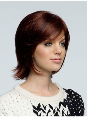 Wavy Chin Length With Bangs Brown Fashion Human Hair Wigs