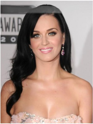 Katy Perry Long Wavy Smooth Human Hair Wigs