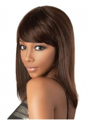 Medium Brown Straight Lace Front Indian Remy Hair Wigs