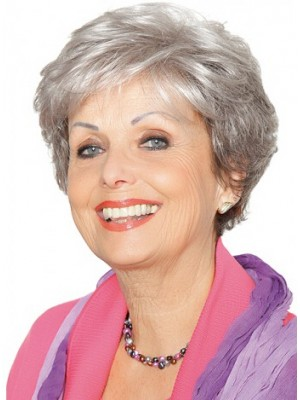 Lace Front Grey Short Wavy Synthetic Hair Wig